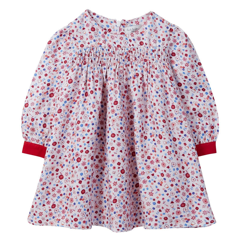 Baby Girls Pink Ditsy Floral Dress With Red Cuffs - CÉMAROSE | Children's Fashion Store - 1