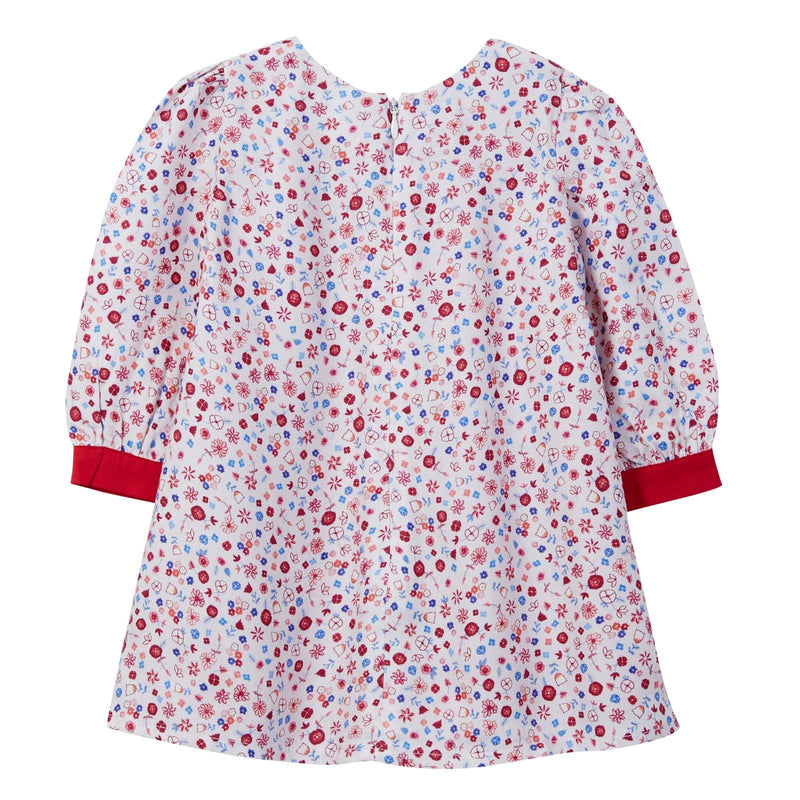 Baby Girls Pink Ditsy Floral Dress With Red Cuffs - CÉMAROSE | Children's Fashion Store - 2