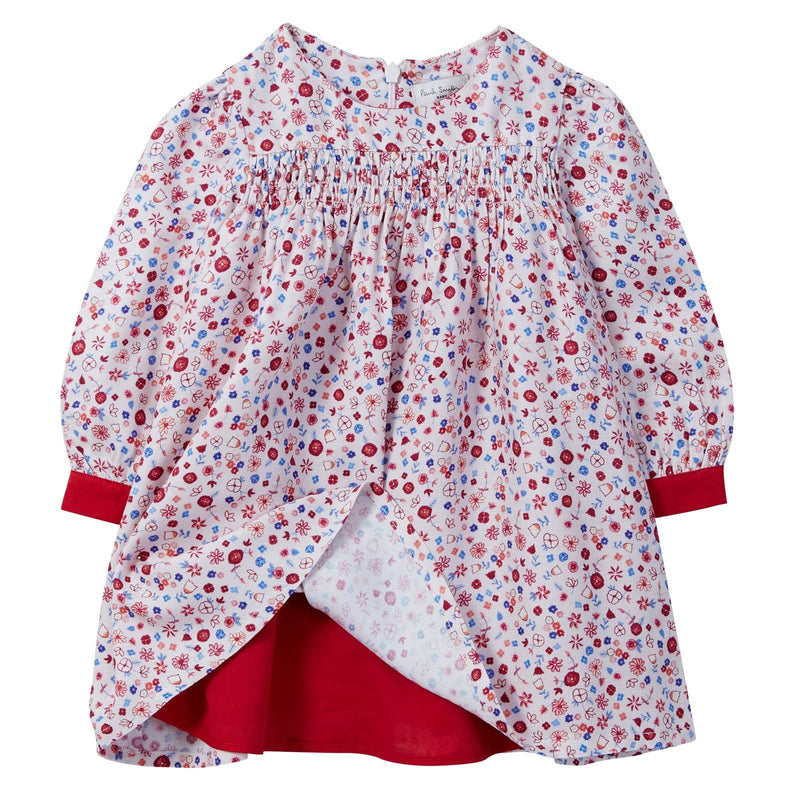Baby Girls Pink Ditsy Floral Dress With Red Cuffs - CÉMAROSE | Children's Fashion Store - 3