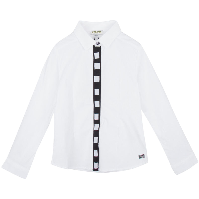 Girls White Cotton Blouse With Black&White Cube Print Buttons - CÉMAROSE | Children's Fashion Store - 1