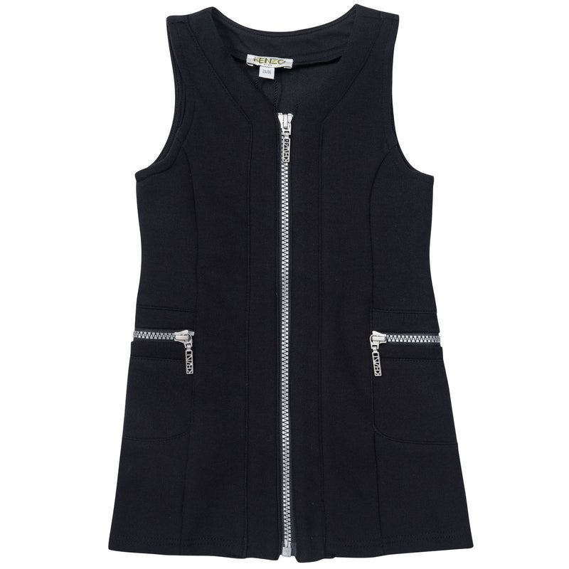 Girls Black Sleeveless Zip-up Dress With Pockets - CÉMAROSE | Children's Fashion Store - 1