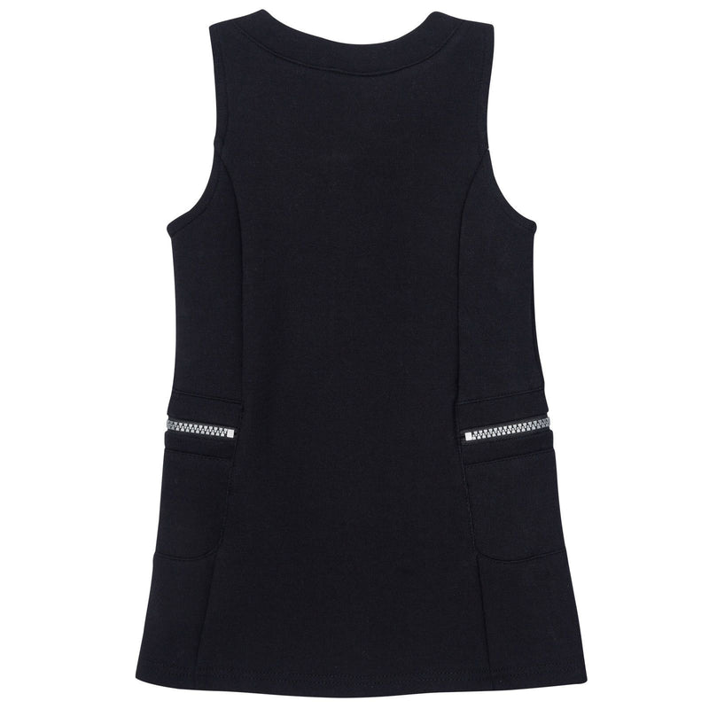 Girls Black Sleeveless Zip-up Dress With Pockets - CÉMAROSE | Children's Fashion Store - 2