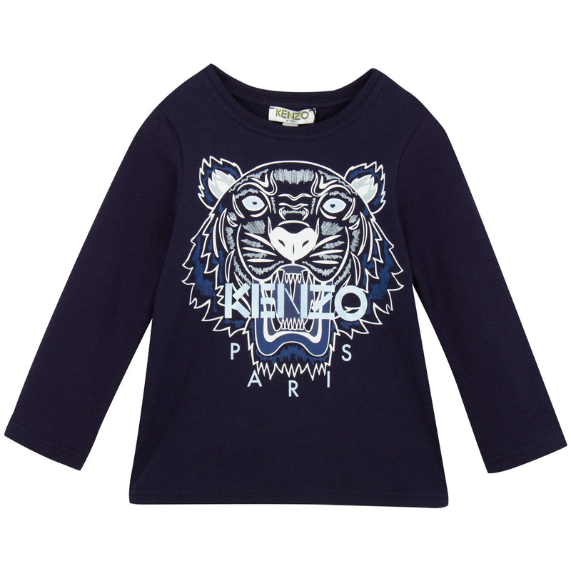 Girls Navy Blue Tiger Embroidered T-Shirt - CÉMAROSE | Children's Fashion Store - 1