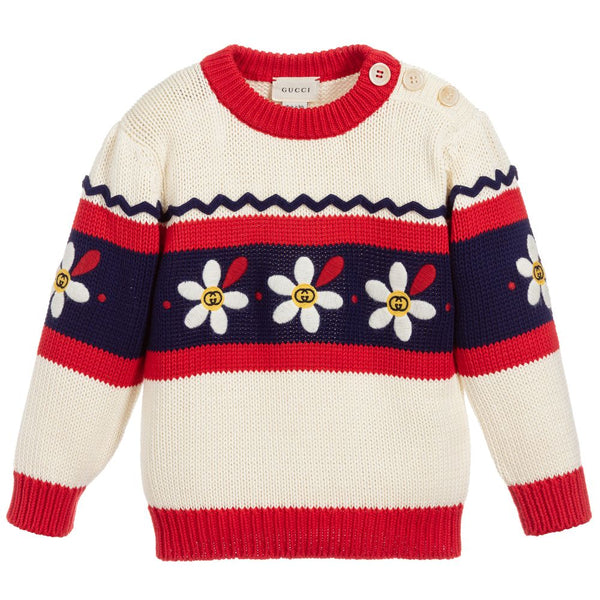 Girls Ivory & Red Cotton Sweater