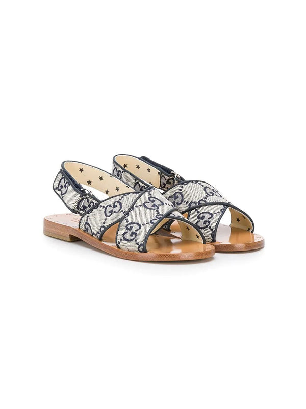 Boys & Girls Blue GG Leather Sandals