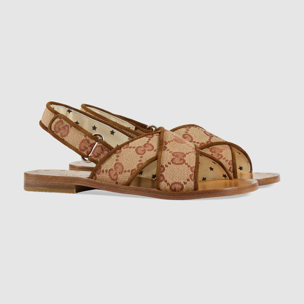 Girls Beige GG Leather Sandals