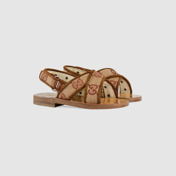 Baby Girls Beige GG Leather Sandals