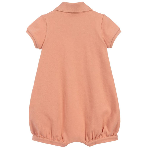 Baby Boys Peach Cotton Babysuit