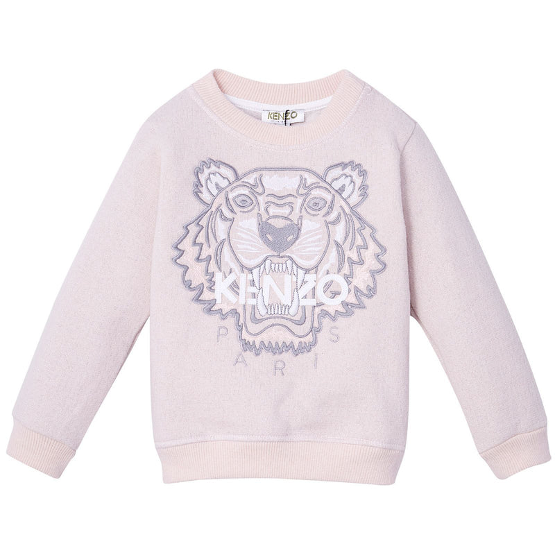 Girls Pink Shimmer Tiger Embroidered Sweatshirt - CÉMAROSE | Children's Fashion Store - 1