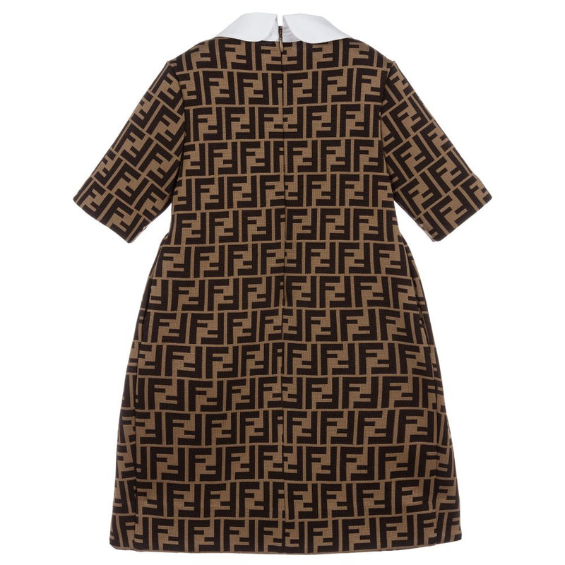 Girls Brown FF Logo Dress
