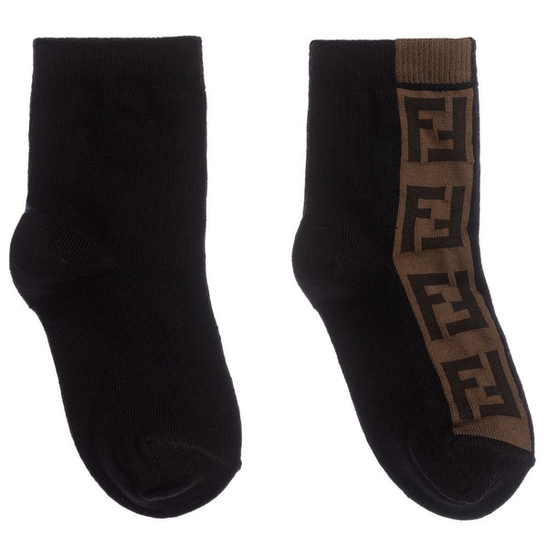 Boys & Girls Black Logo Cotton Socks