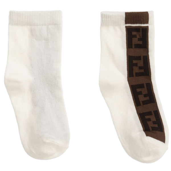 Boys & Girls White Logo Cotton Socks
