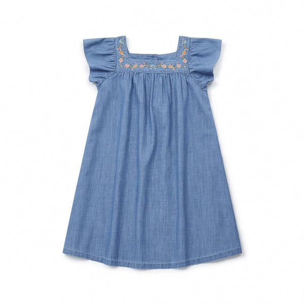 Girls Blue Embroidery Cotton Dress