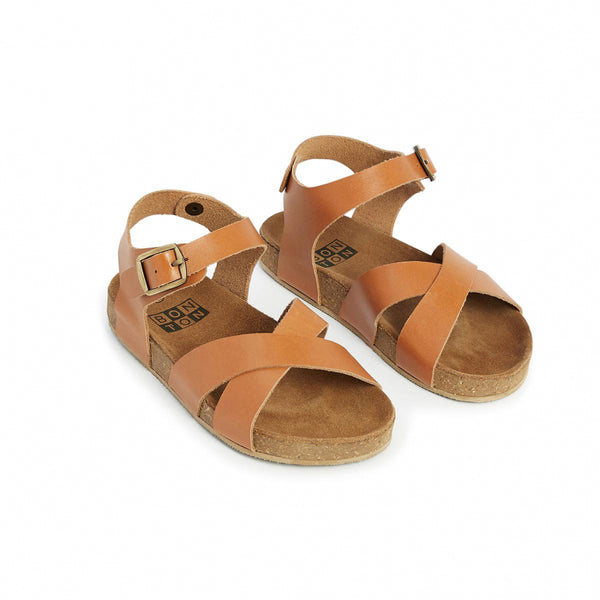 Girls Brown Cross Leather Sandals
