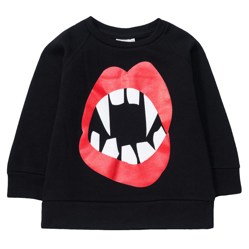 Boys&Girls Black Mouth Printed Logo Sweatshirt - CÉMAROSE | Children's Fashion Store - 1