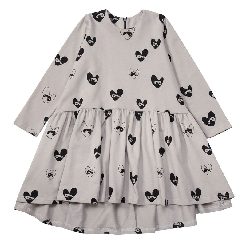 Girls Beige Oversized Dress With Bandit Lovehearts - CÉMAROSE | Children's Fashion Store - 1