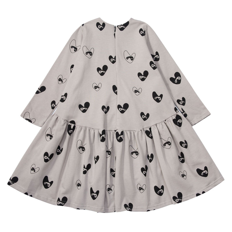 Girls Beige Oversized Dress With Bandit Lovehearts - CÉMAROSE | Children's Fashion Store - 2