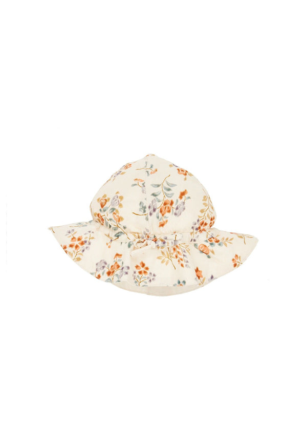 Girls Beige Flowers Sun Hat