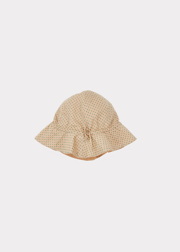Girls Khaki & Green Dots Cotton Hat