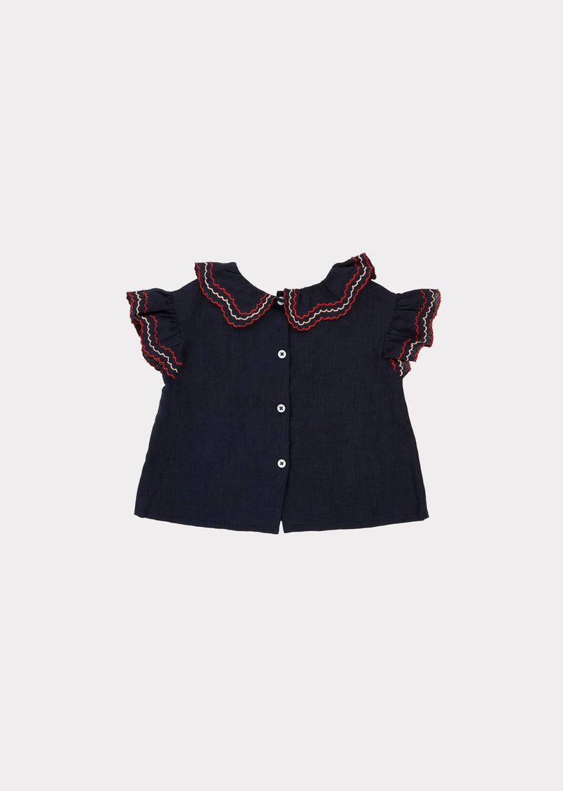 Baby Girls Navy Frill Top