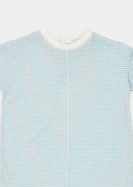Baby Boys Blue Check Cotton Babysuit