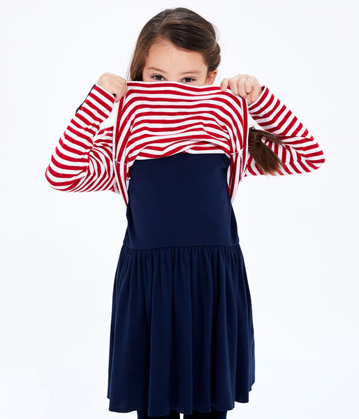 Girls Black & Red Stripes Dress