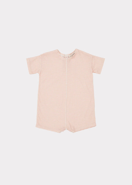 Baby Boys Terracotta Check Cotton Babysuit