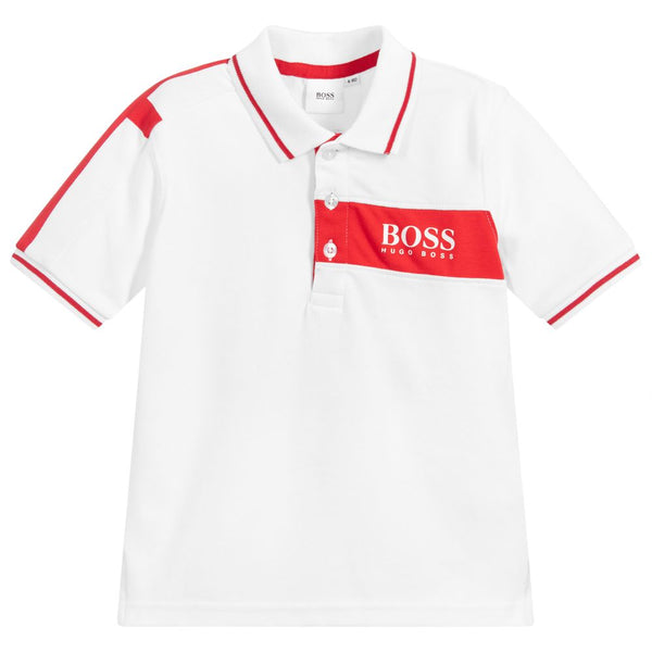 Boys White Cotton Polo Shirt