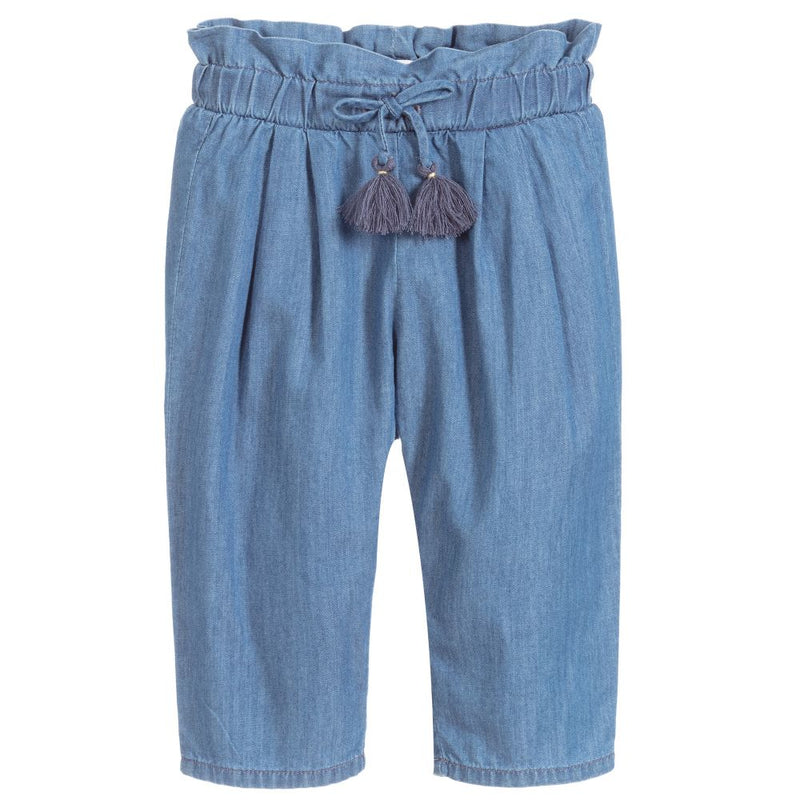 Baby Girls Blue Cotton Trousers
