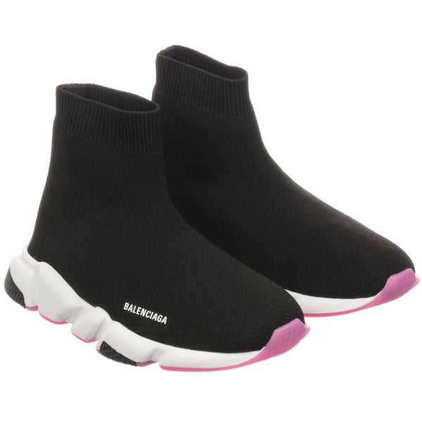 Girls Black & Pink Speed Logo Shoes