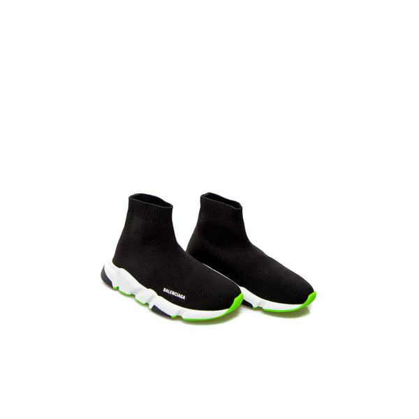 Girls Black & Green Speed Logo Shoes