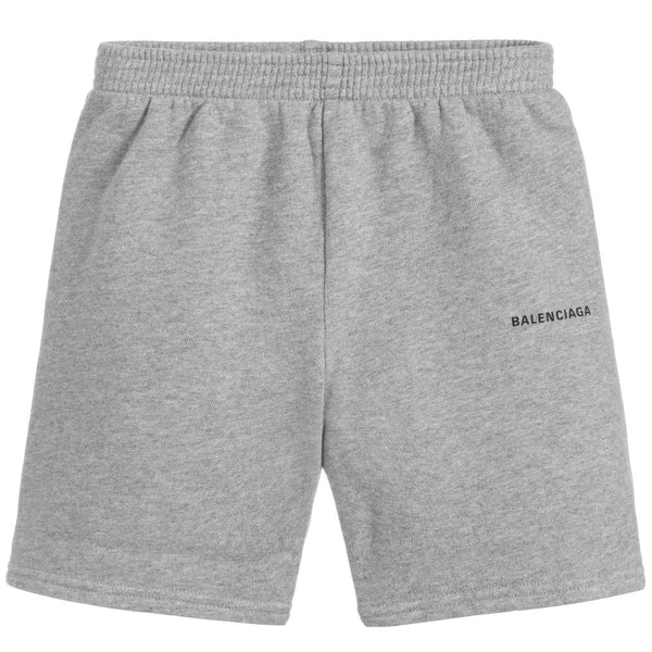 Boys Grey Logo Cotton Shorts