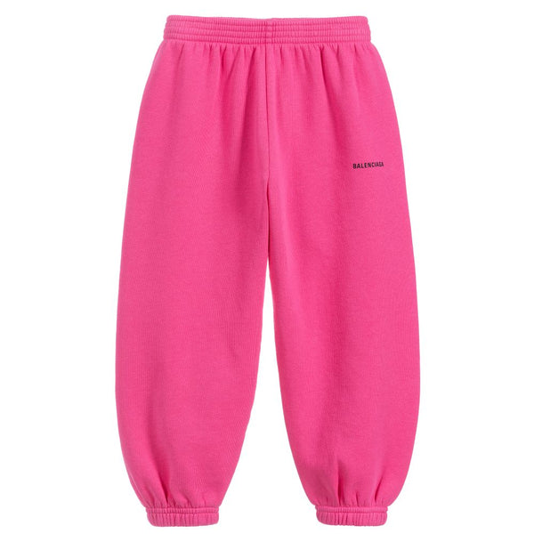 Girls Pink Cotton Logo Trousers