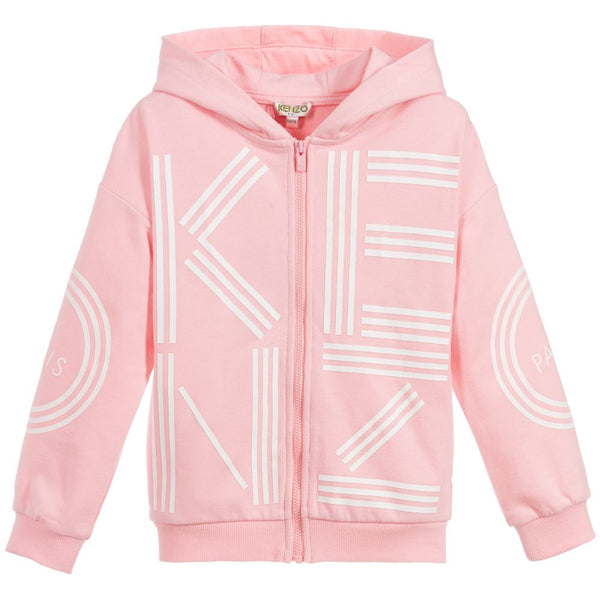 Girls Pink Logo Cotton Cardigan