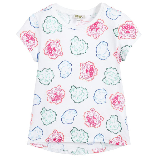 Girls White Pattern Cotton T-shirt