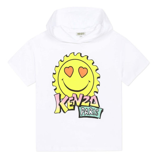 Girls White Hooded Cotton T-shirt