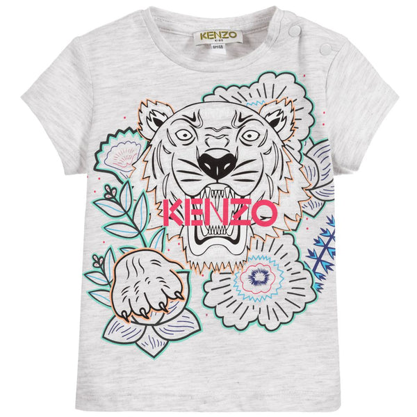 Baby Girls Grey Tiger T-shirt