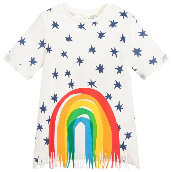 Girls White Rainbow Stripe Cotton Dress