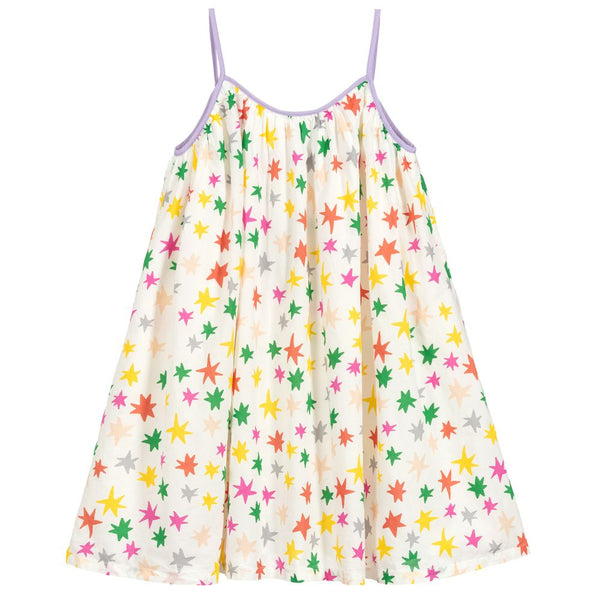 Girls White Stars Cotton Dress