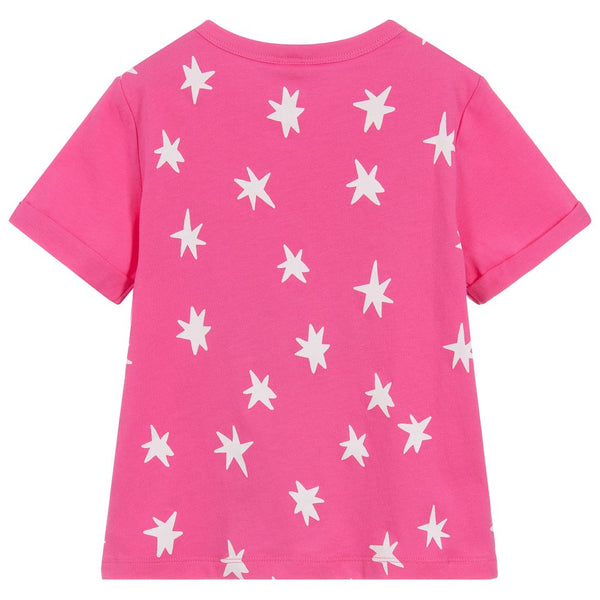 Girls Pink Rainbow Cotton T-shirt