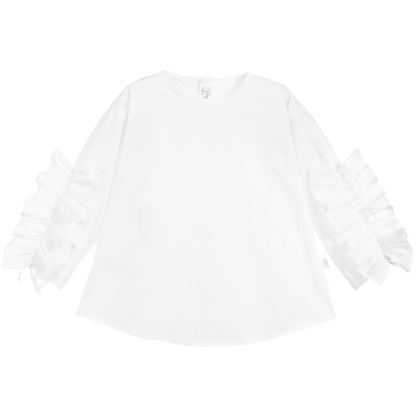 Girls White Cotton Ruffled Blouse