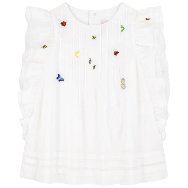 Girls White Embroidered Cotton Top