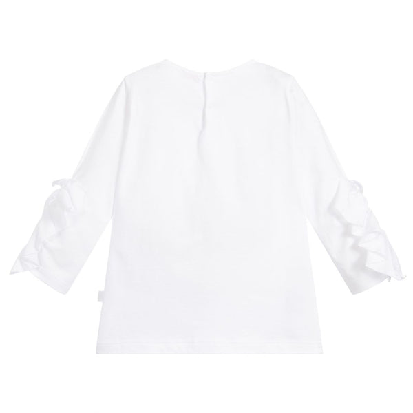 Girls White  Cotton Ruffle Top