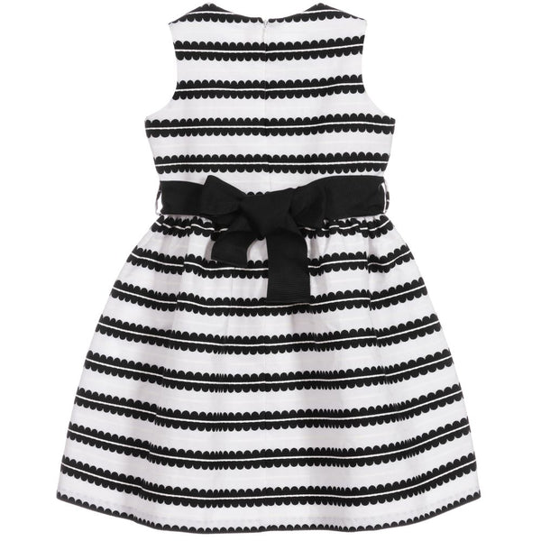 Girls Black & White Stripe Cotton Dress