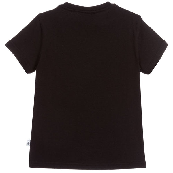 Boys Black Map Cotton T-shirt