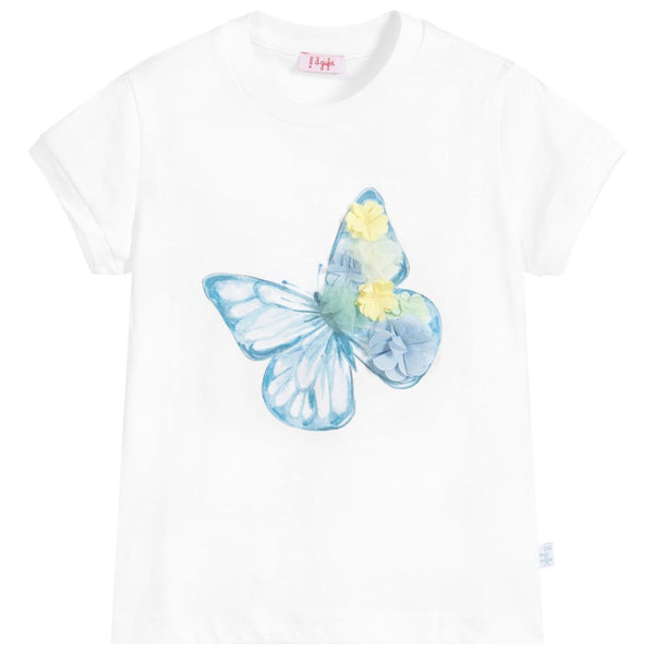 Girls White Butterfly Cotton T-shirt