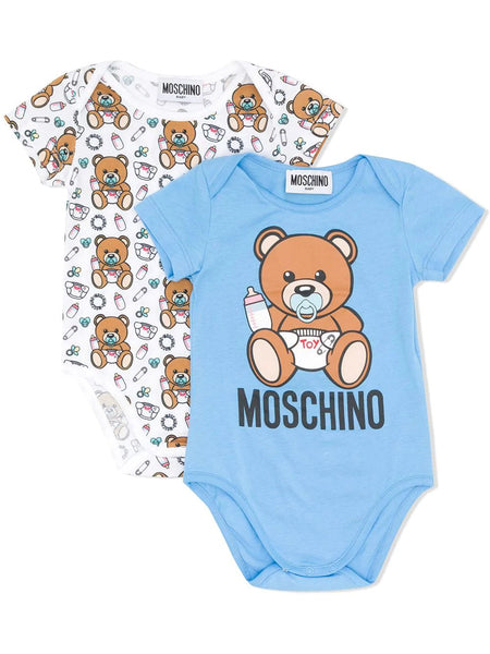 Baby Boys Blue & White Babysuit Set (2 Pack)