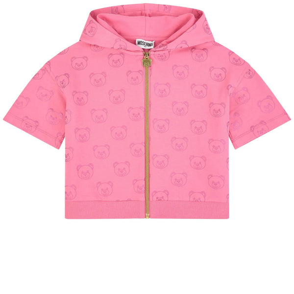 Girls Pink Cotton Zip-up Sweatshirt