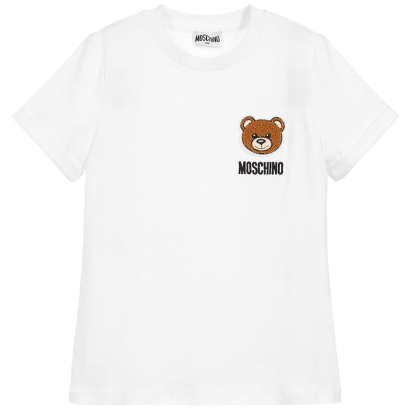 Boys & Girls White Cotton T-shirt