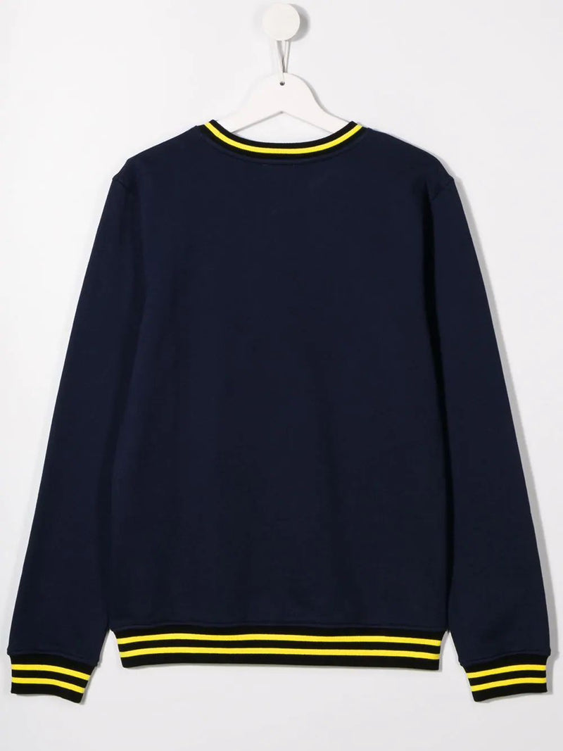 Boys Navy Logo Cotton Sweatshirt